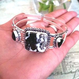White Buffalo & Onyx Sterling Silver Cuff Bracelet